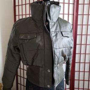 Jackets & Blazers - Cool Forest Green Leather Long Neck Bomber Coat